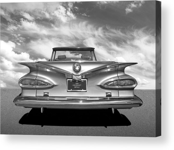 Chevrolet Impala Acrylic Print featuring the photograph Chevrolet Impala 1959 In Black And White by Gill Billington