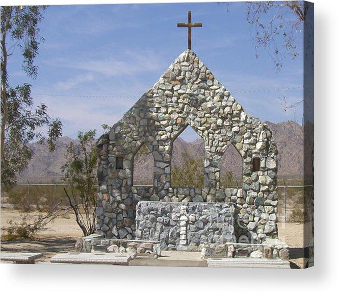 California Acrylic Print featuring the photograph Chiriaco Summit Chapel by Deborah Smolinske