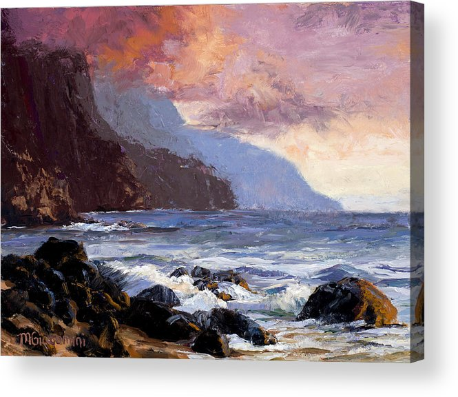 Ocean Acrylic Print featuring the painting Coastal Cliffs Beckoning by Mary Giacomini