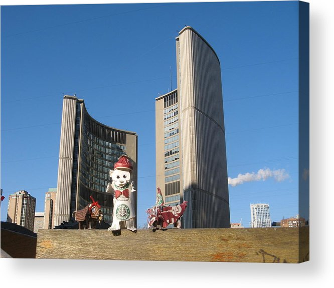 Paper Acrylic Print featuring the sculpture coffee cup animals at City Hall by Alfred Ng