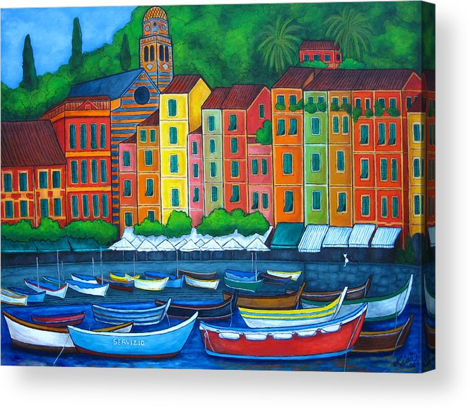 Portofino Acrylic Print featuring the painting Colours Of Portofino by Lisa Lorenz