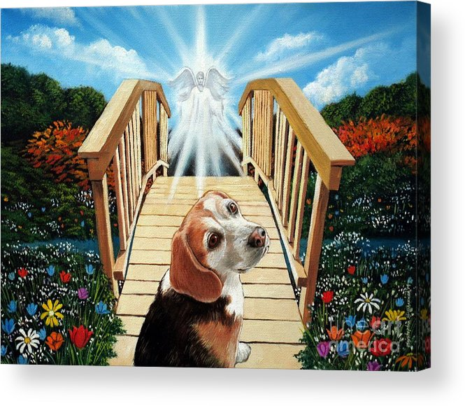 Angel Acrylic Print featuring the painting Come Walk With Me Over The Rainbow Bridge by Christopher Shellhammer
