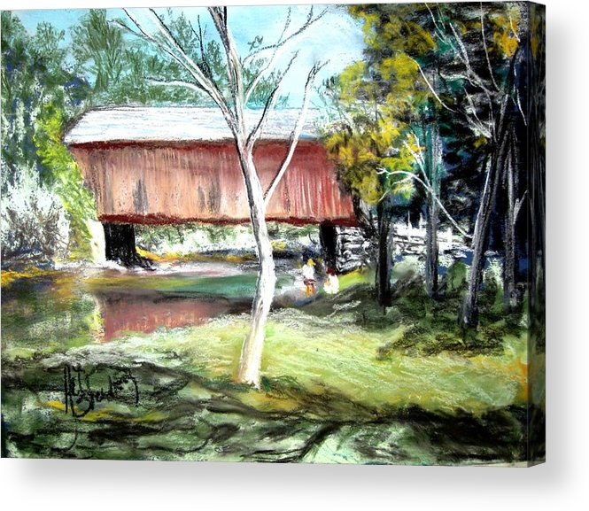 Covered Bridge Acrylic Print featuring the painting Covered Bridge Newport Nh by Art Stenberg
