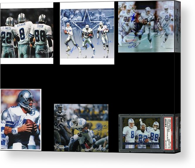 Cowboys Triple Threat Autographed Reprint Acrylic Print featuring the painting Cowboys Triple Threat Autographed Reprint by James Nance
