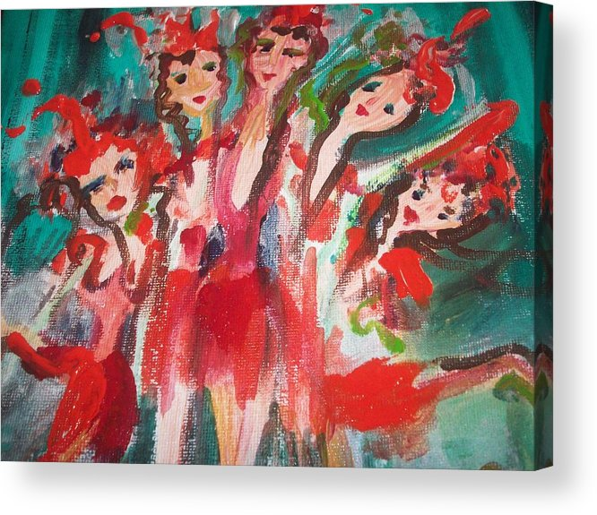 Showgirl Acrylic Print featuring the painting Crazy Joker Showgirls by Judith Desrosiers