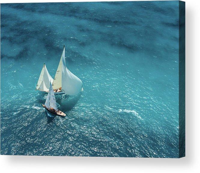 Ship Acrylic Print featuring the photograph Croisement Bleu by Marc Pelissier