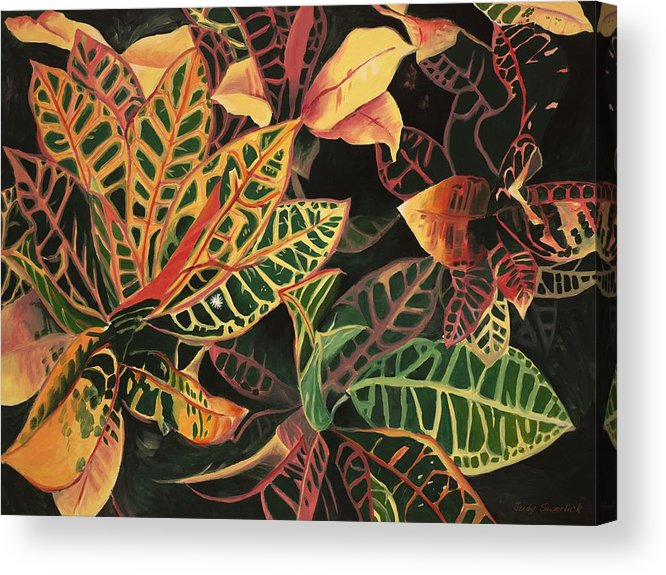 Croton Leaves Acrylic Print featuring the painting Croton Leaves by Judy Swerlick