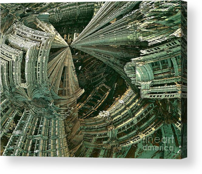 Fractal Art Acrylic Print featuring the digital art Curvy World by Bernard MICHEL