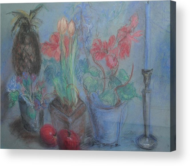 Pastel Acrylic Print featuring the pastel Dancing Still Life In Pastel by Patricia Kimsey Bollinger