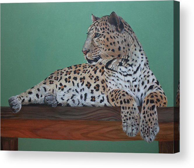 Leopard Acrylic Print featuring the painting Day Dreamer by Lorraine Ulen