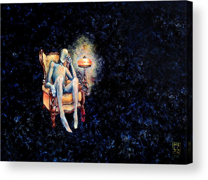 Death Acrylic Print featuring the painting Deaths Waiting Room by Mark M Mellon