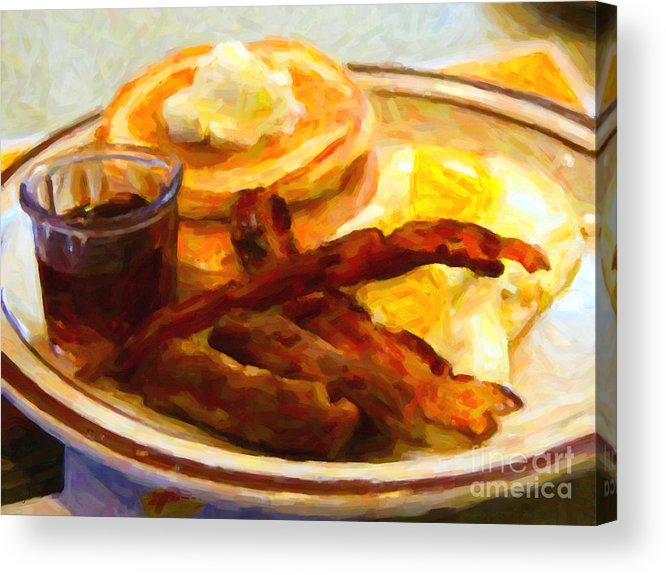 Breakfast Acrylic Print featuring the photograph Denny's Grand Slam Breakfast - Painterly by Wingsdomain Art and Photography