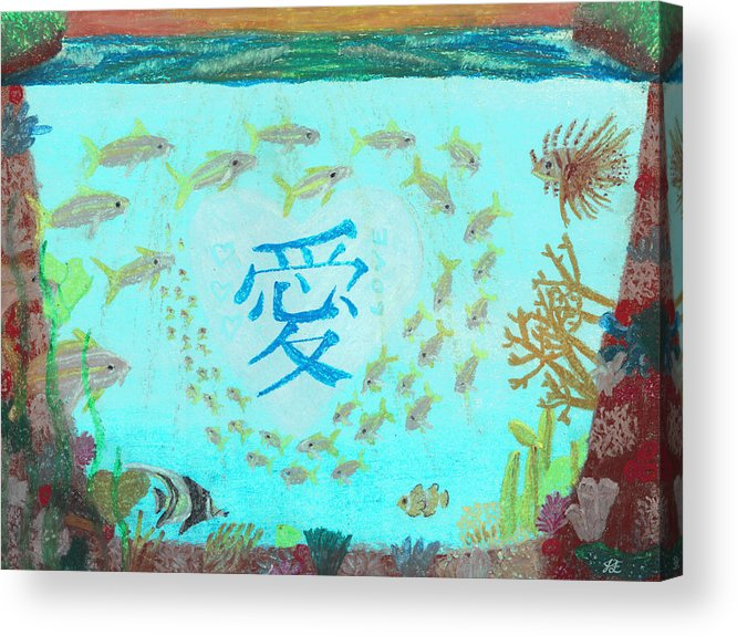 Love Acrylic Print featuring the pastel Depiction Of The Ocean With A School Of Fish Swimming Around A Heart Containing The Kanji Ai Meaning by Jessica Foster