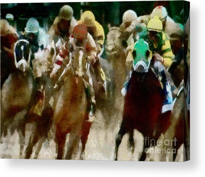 Race Acrylic Print featuring the painting Derby Day One Of Three by Scott B Bennett