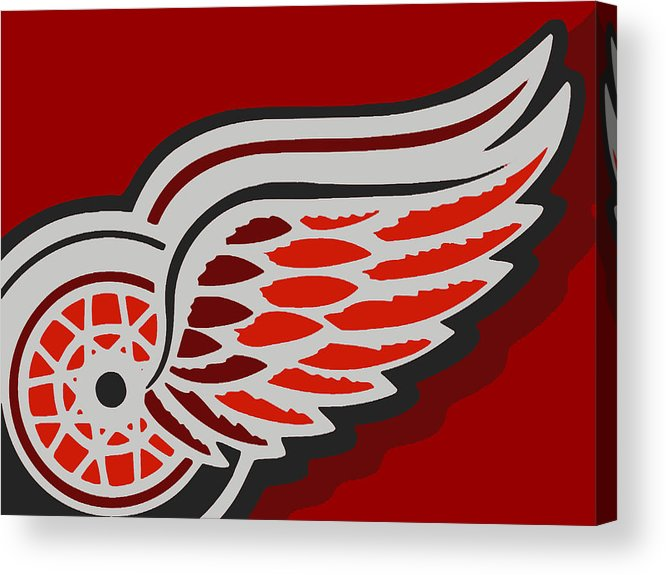 Detroit Acrylic Print featuring the painting Detroit Red Wings by Tony Rubino