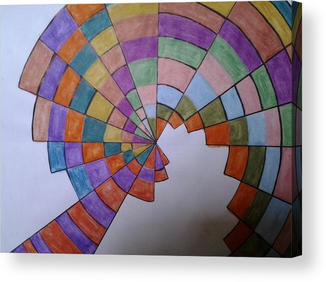 Draw Acrylic Print featuring the drawing Disorientation by Samir Konbr