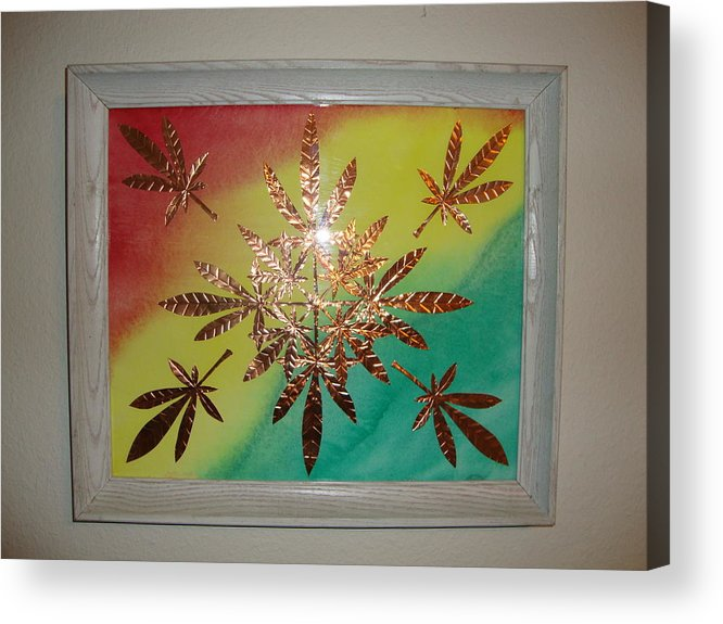 Red Acrylic Print featuring the mixed media Dream Leaves One by Scott Faucett