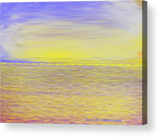 Sky.clouds.sun Reflection On Clouds.colr Clouds.sunset.sun.yellow.sea.waves.sun Reflection On Water. Acrylic Print featuring the digital art End Of Day by Dr Loifer Vladimir