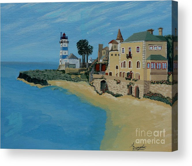 Lighthouse Acrylic Print featuring the painting European Lighthouse by Anthony Dunphy