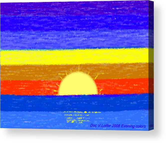 Evening.sky.stars.colors.violet.blue.orange.yellow.red.sea.sunset.sun.sunrays.reflrction. Ater. Acrylic Print featuring the digital art Evening Colors by Dr Loifer Vladimir