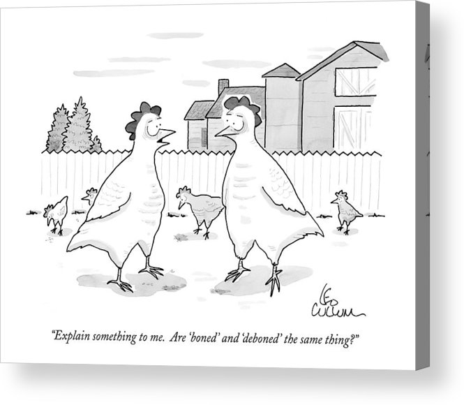 Birds - Chickens Acrylic Print featuring the drawing Explain Something To Me. Are 'boned' by Leo Cullum