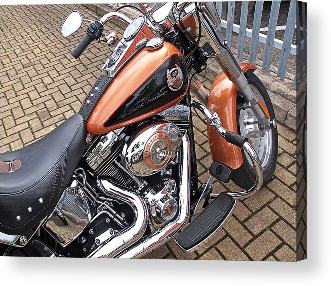 Harley Davidson Acrylic Print featuring the photograph Fatboy - 96 Cubic Inches by Gill Billington
