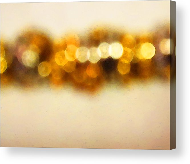 Buy Acrylic Print featuring the painting Fire Dance - Warm Sparkling Abstract Art by Sharon Cummings