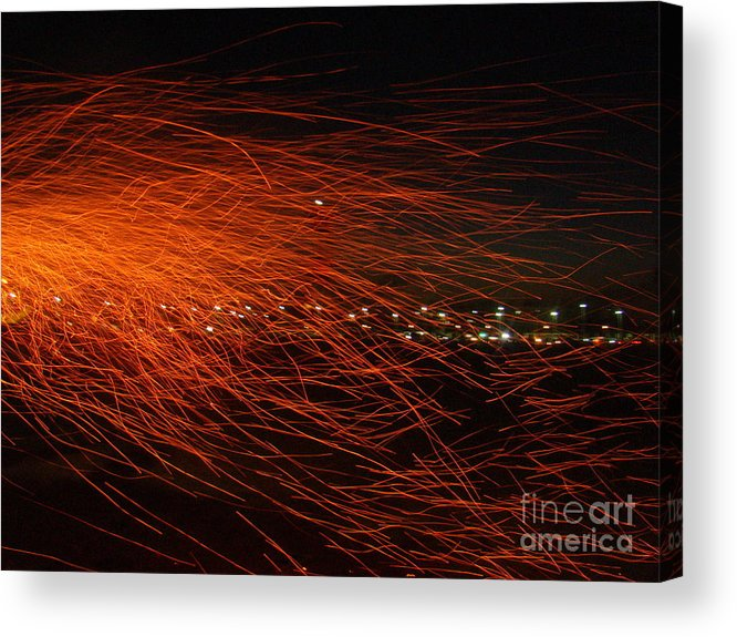 Acrylic Print featuring the photograph Fire Flakes by Conceptioner Sunny