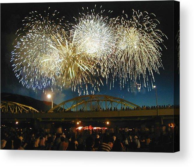 Fireworks Acrylic Print featuring the digital art Fireworks by Beau Brady