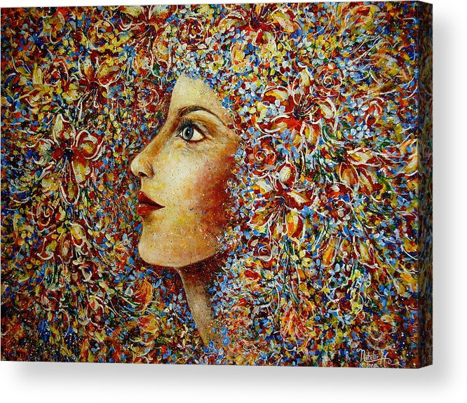 Flower Goddess Acrylic Print featuring the painting Flower Goddess. by Natalie Holland
