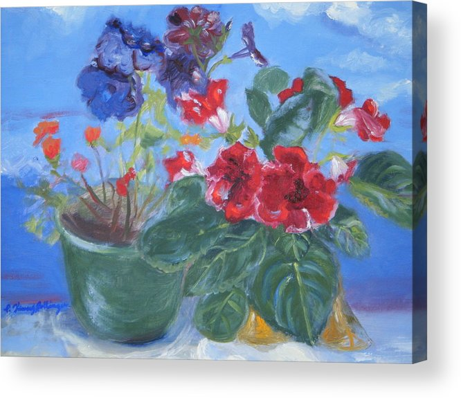 Gloxinia Acrylic Print featuring the painting Flowers With The Sky by Patricia Kimsey Bollinger