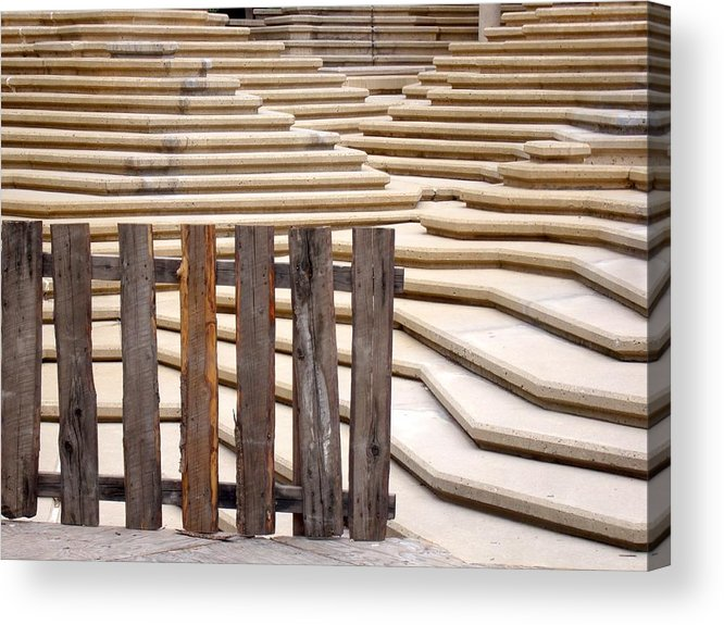 Fence Acrylic Print featuring the photograph Fountain Stepped Concrete And Fence by Ian Mcadie