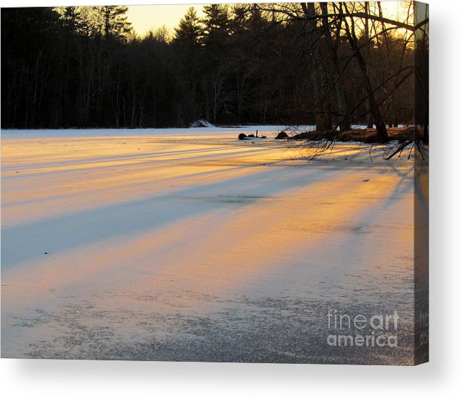 Ice Acrylic Print featuring the photograph Frozen Sunset by Lili Feinstein