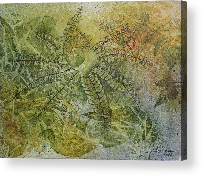 Mystical Landscape Acrylic Print featuring the painting Garden Mist by Patsy Sharpe