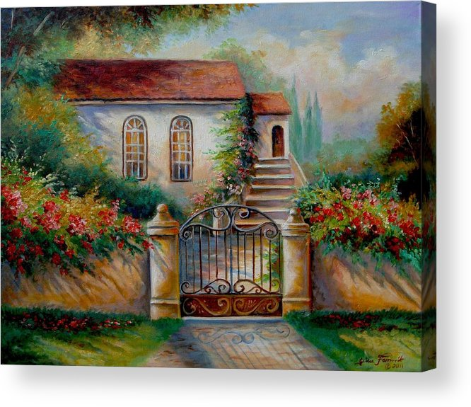 Garden Scene With Villa And Gate Print Acrylic Print featuring the painting Garden Scene With Villa And Gate by Regina Femrite