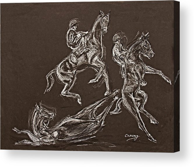 Rearing Horse Acrylic Print featuring the drawing Ghost Riders In The Sky by Tom Conway
