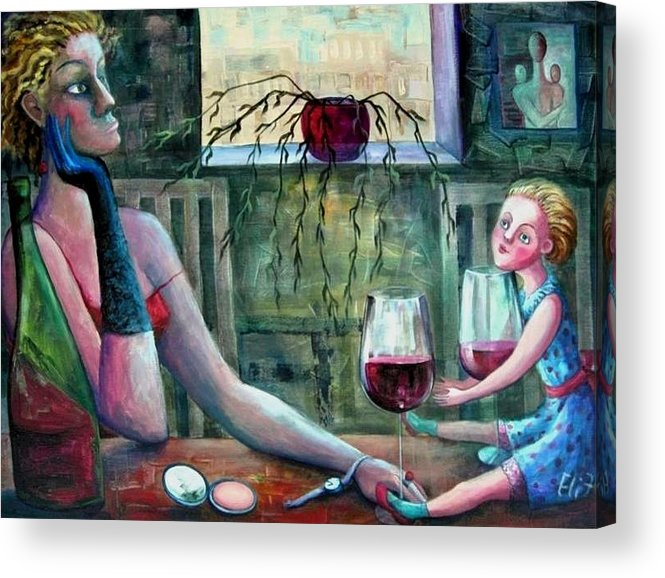 Woman Acrylic Print featuring the painting Girls Party by Elisheva Nesis
