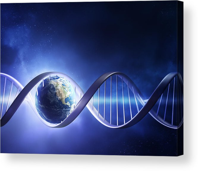 Dna Acrylic Print featuring the photograph Glowing Earth Dna Strand by Johan Swanepoel