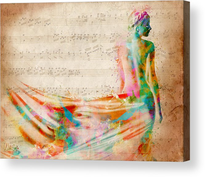 Mozart Acrylic Print featuring the digital art Goddess Of Music by Nikki Smith