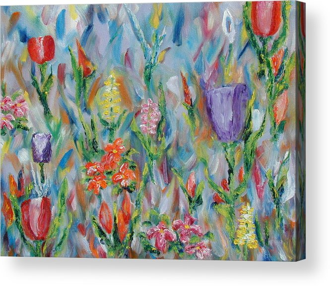 Landscape Acrylic Print featuring the painting Grandma's Garden by SheRok Williams