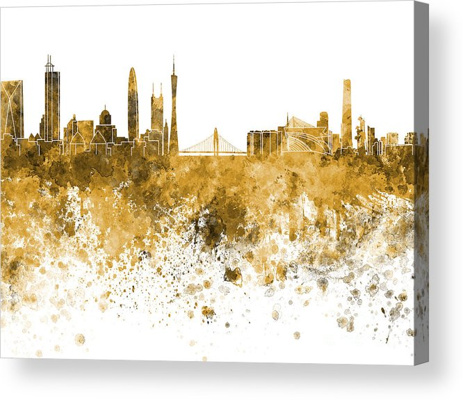 Guangzhou Skyline Acrylic Print featuring the painting Guangzhou Skyline In Orange Watercolor On White Background by Pablo Romero