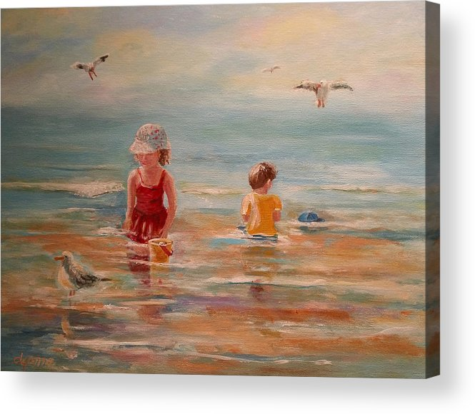 Beach Acrylic Print featuring the painting Hold On To Your Hat by Dyanne Parker