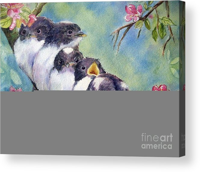 Baby Birds Acrylic Print featuring the painting Home Alone by Patricia Pushaw
