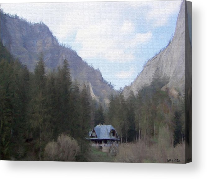 Alone Acrylic Print featuring the painting Home In The Mountains by Jeff Kolker