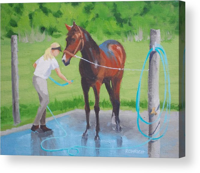 Stables Acrylic Print featuring the painting Horse  Wash by Robert Rohrich