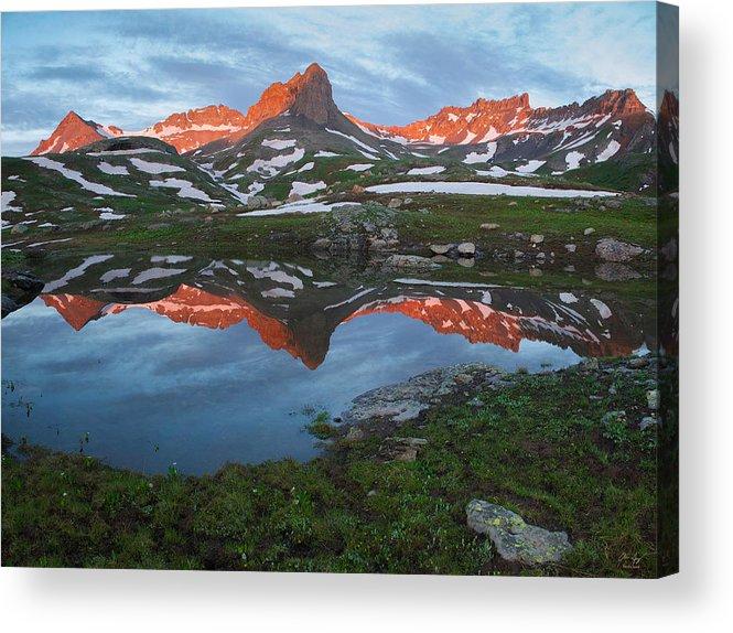 Rocky Acrylic Print featuring the photograph Ice Lakes Alpenglow by Aaron Spong