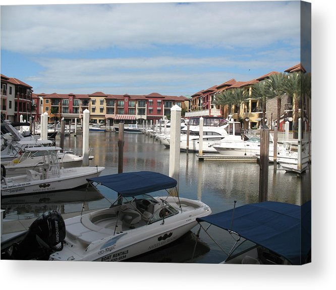 Buildings Acrylic Print featuring the photograph Inner Harbor - Naples by Christiane Schulze Art And Photography