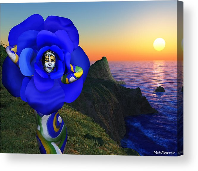 3d Acrylic Print featuring the painting internal beauty-Blue Rose by Williem McWhorter