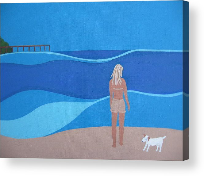 Jack Russell Acrylic Print featuring the painting Jack At The Beach by Sandra McHugh