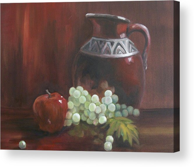 Red Acrylic Print featuring the painting Jug With Frosty Grapes by Ellen Ebert